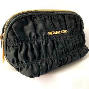 MICHAEL KORS cosmetic pouch black nylon ruching